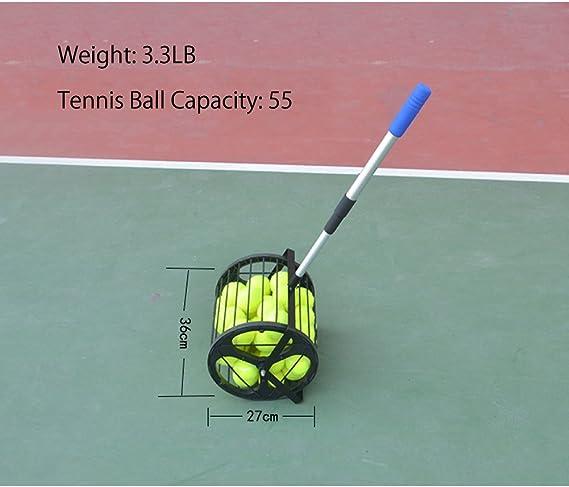 HnjPama 2-in-1 Tennis Ball Baseball Collector Ball Hopper Can Hold 55 Tennis Balls