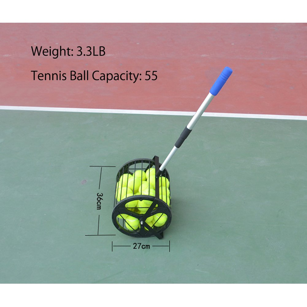 Amazon.com : HnjPama 2-in-1 Tennis Ball Baseball Collector Ball Hopper Can Hold 55 Tennis Balls : Sports & Outdoors