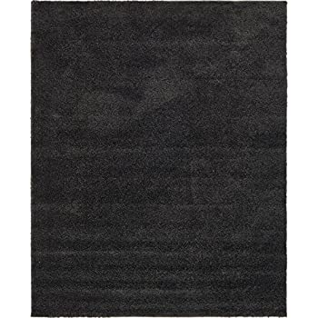 Unique Loom Solid Frieze Collection Plush Transitional Charcoal Home Dcor Area Rug 8 X 10