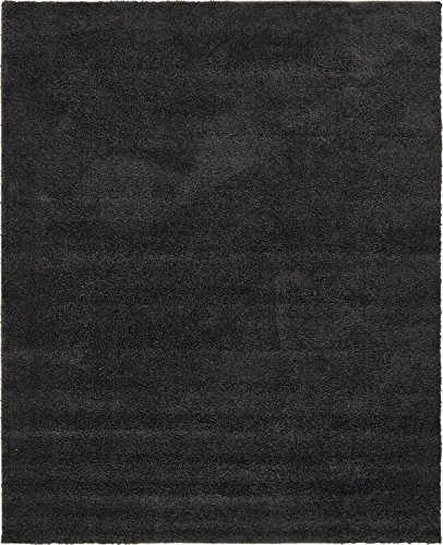 Unique Loom Solo Collection Plush Casual Charcoal Area Rug (8' x 10') (Solid Black Area Rug)