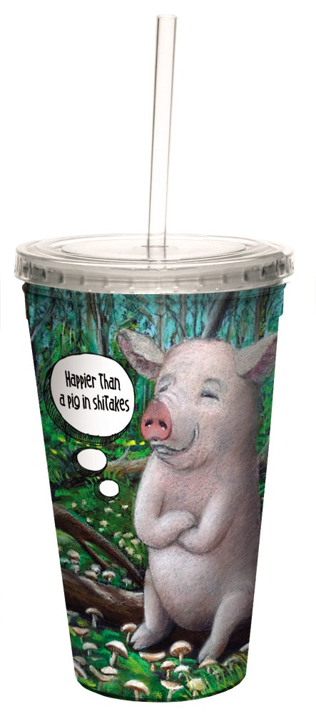 Pig in Shitakes Double-Walled Cool Travel Cup with Reusable Straw, 16-Ounce - D.A. Hammond - Funny Gift for Animal Lovers - Tree-Free Greetings 35540