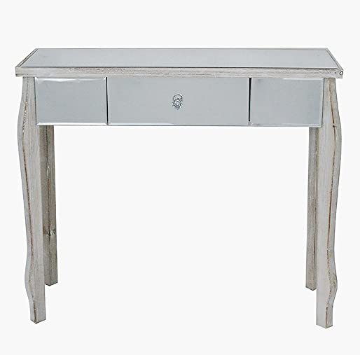 Heather Ann Creations 30.7 White Wash Amelia Collection Console Living Room Office Writing Table with Drawer and Mirror Accents