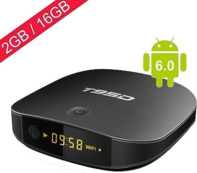 T95D Android Smart TV Box, Android 6.0 2GB RAM / 16GB ROM con Rockchip RK3229 Soporte de reproductor multimedia Quad-Core Ultra HD 4k * 2k Outpu 2.4GHz Wi-Fi HDMI Bluetooth (2+16): Amazon.es: