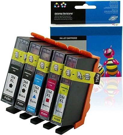 Purebesi Pack de 5 Cartuchos de Tinta Compatible con HP Deskjet ...