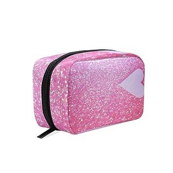 6e9d0f981acd Makeup Organizer Pink Heart Glitter Womens Zip Toiletry Bag Large ...