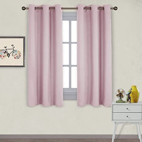 NICETOWN Nursery Essential Thermal Insulated Solid Grommet Top Blackout  Curtains / Drapes (1 Pair,