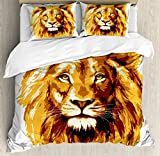 Safari Decor Duvet Cover Set by Ambesonne, Illustration of the Lion King Biggest Cat in Africa Icon Animal in Tropics Artwork, 3 Piece Bedding Set with Pillow Shams, King Size, Orange White