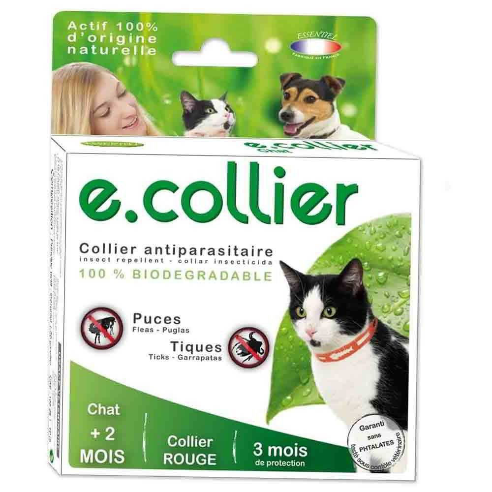 Collier antiparasitaire chat e.collier rouge ESSENTIEL actif 100% naturel.