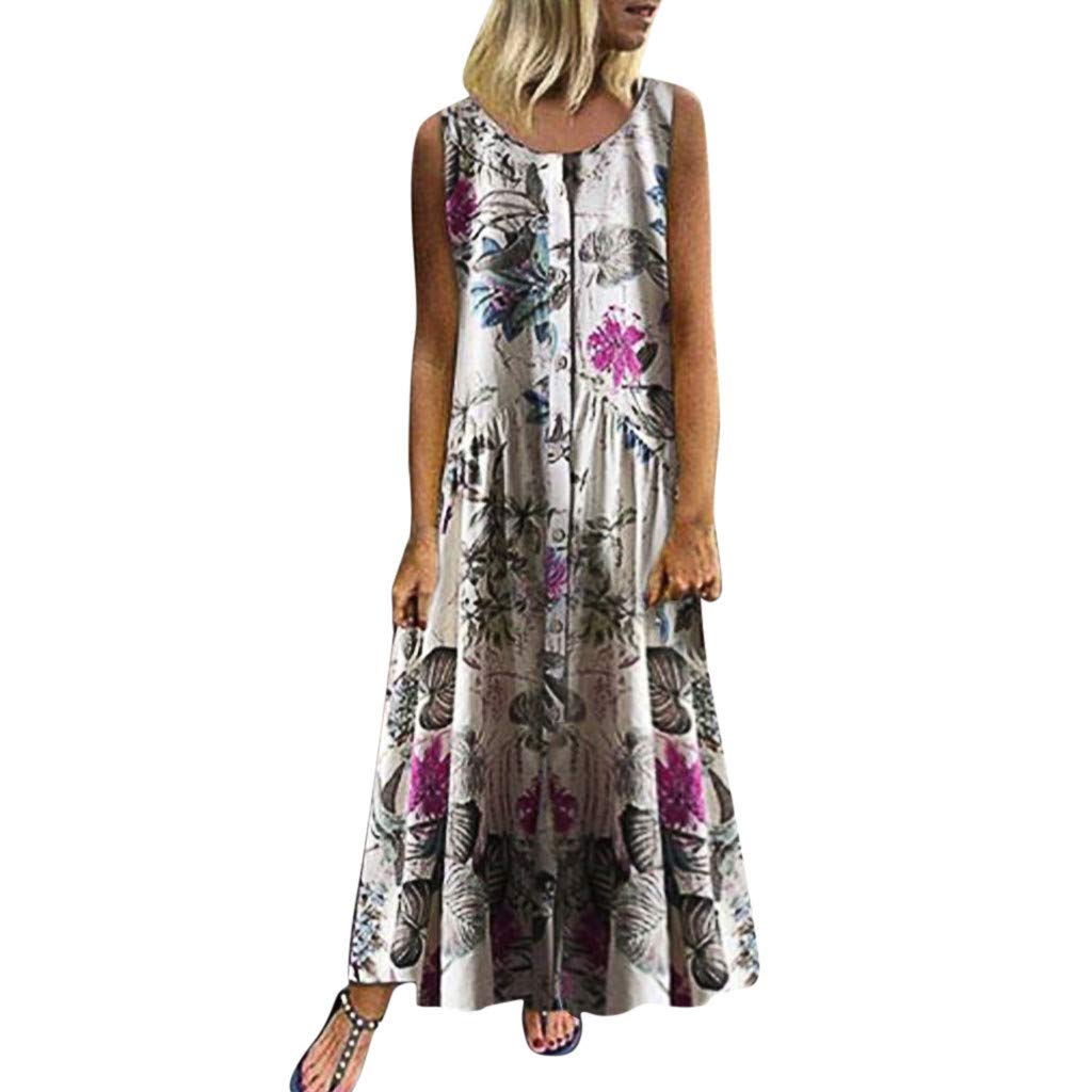 Women's Plus Size Floral Boho Maxi Dress O Neck Summer Casual Vintage Sleeveless Floaty Long Dresses