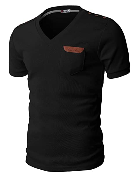 4e6e64b1 H2H Mens Basic Cotton V-neck T-shirts with Point Shoulder Button Leather  Pocket