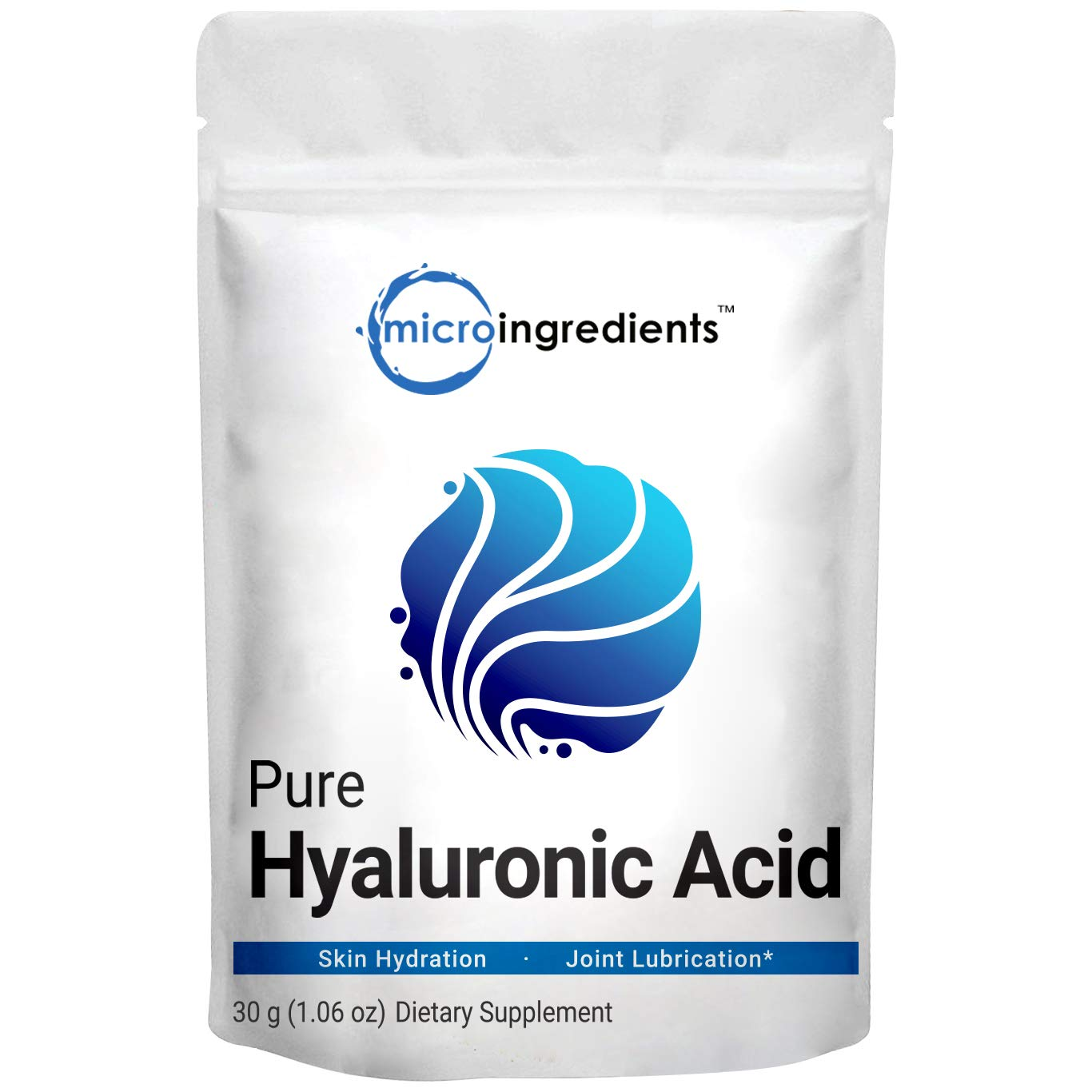 Pure Hyaluronic Acid Serum Powder, Making Anti Aging Serum for Face and Skin, 30 Gram, Support Antioxidant, Hydration and Moisture, No GMOs, Vegan