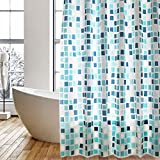 Shower Curtain Liner with Hooks,Mildew Resistant Anti-Bacterial Waterproof PEVA Shower Curtain,Water-Repellent,Non Toxic,Eco-Friendly,Blue Square,72x72 in(180x180 cm)