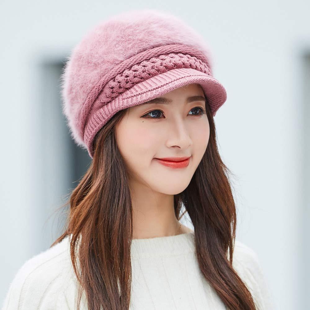 Flower Plus Velvet Warm Beret Women Warm Fashion Hat Winter Soft Warm Elastic