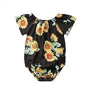 beBetterstore Newborn Baby Girl Floral Bodysuit Short Sleeve Sunflower Summer Outfit Clothes