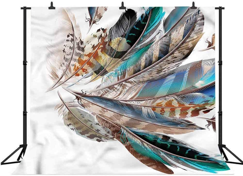 5x5FT Vinyl Photo Backdrops,Feathers,Contour Feather Fashion Photo Background for Photo Booth Studio Props