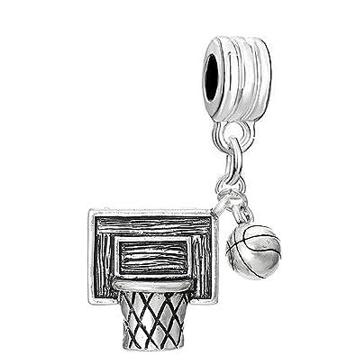 Basketball Charm Fits European style Bracelet  Basketball player Crystal Heart