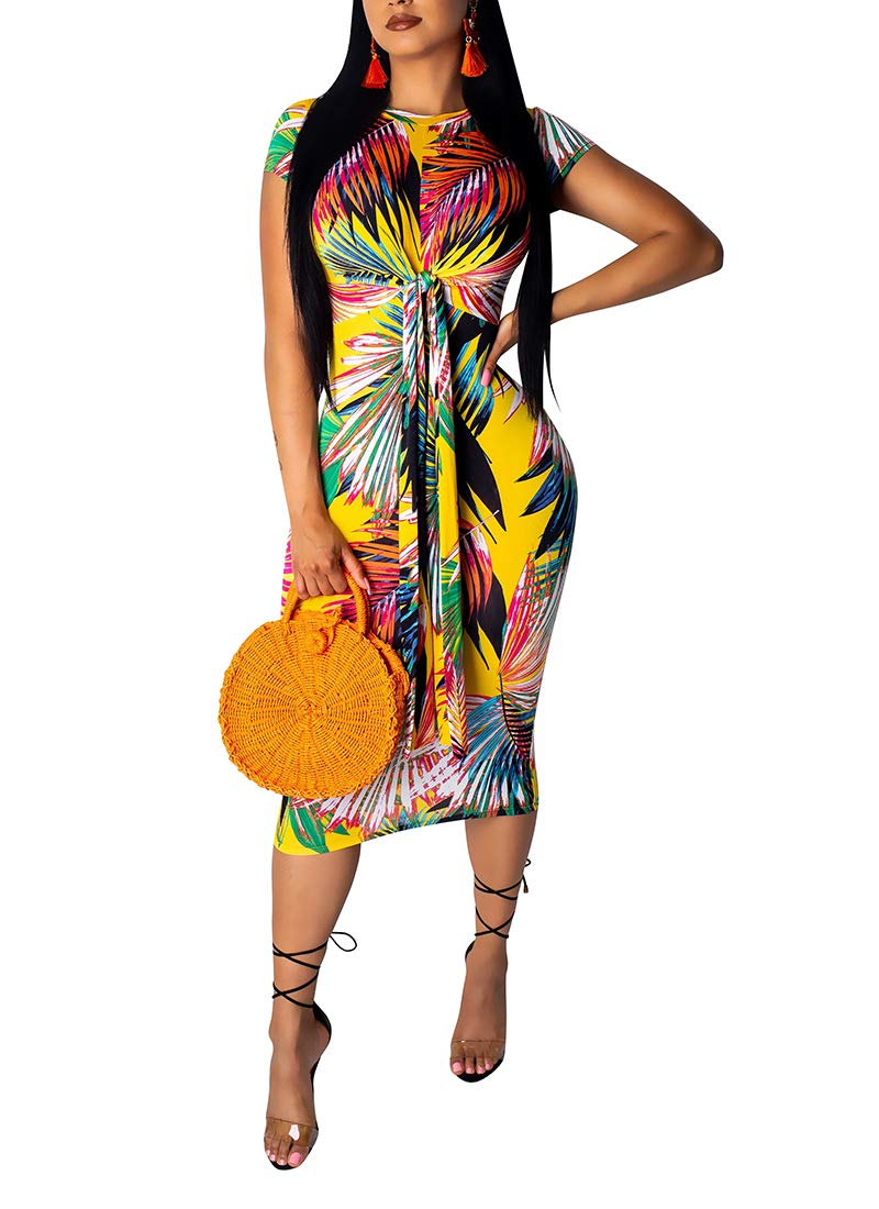 Floral Bodycon Dress for Women, O Neck Pullover Short Sleeve Casual Summer Dresses with Tie Bow Rainbow1 L
