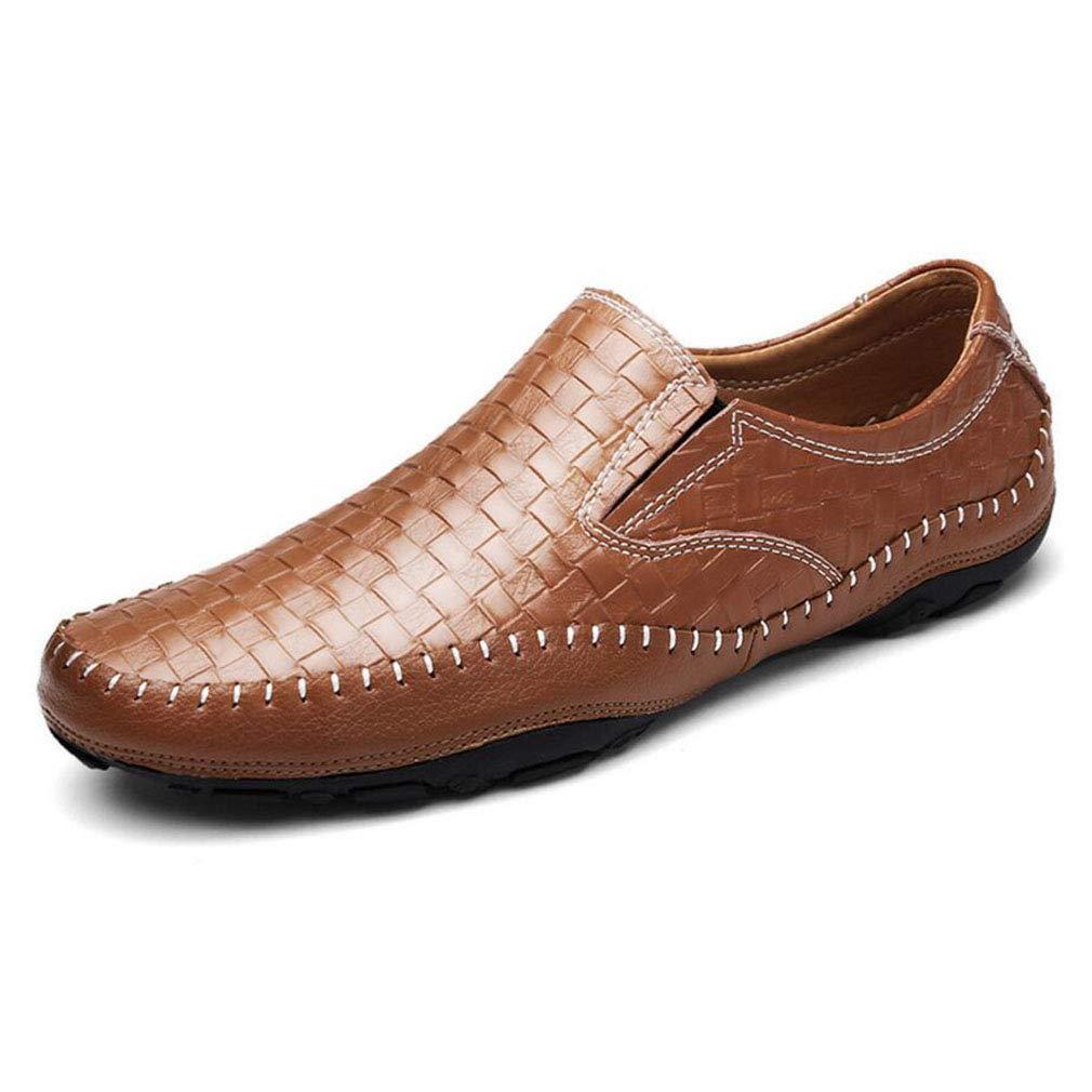 YAN 2018 Herrenschuhe Smart Casual Schuhes Loafers Slip Auf Schuhen Herren Leder Fahr Schuhe Moccasins Schwarz-Blau-Braun, A,43