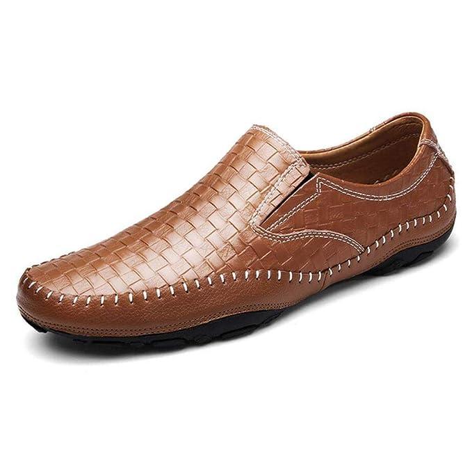 YAN 2018 Mens Zapatos Elegantes Zapatos Casuales Mocasines Slip En Zapatos Para Hombre Cuero Zapatos De Conducción Mocasines Negro Azul Marrón, ...