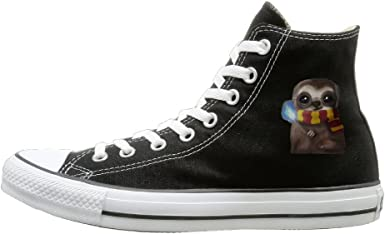 Aiguan Owl Canvas Shoes High Top Sport Black Sneakers Unisex Style