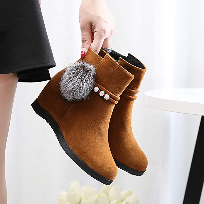Amazon.com | Offers, ZLolia Women Zipper Round Toe Boots Suede Hairball Wedges Pure Color Shoes | Boots