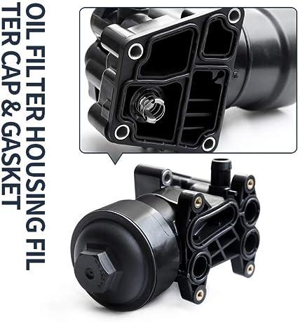 Tapa de filtro de aceite/enfriador de aceite con junta, 03L115389C, 03L117021C: Amazon.es: Coche y moto