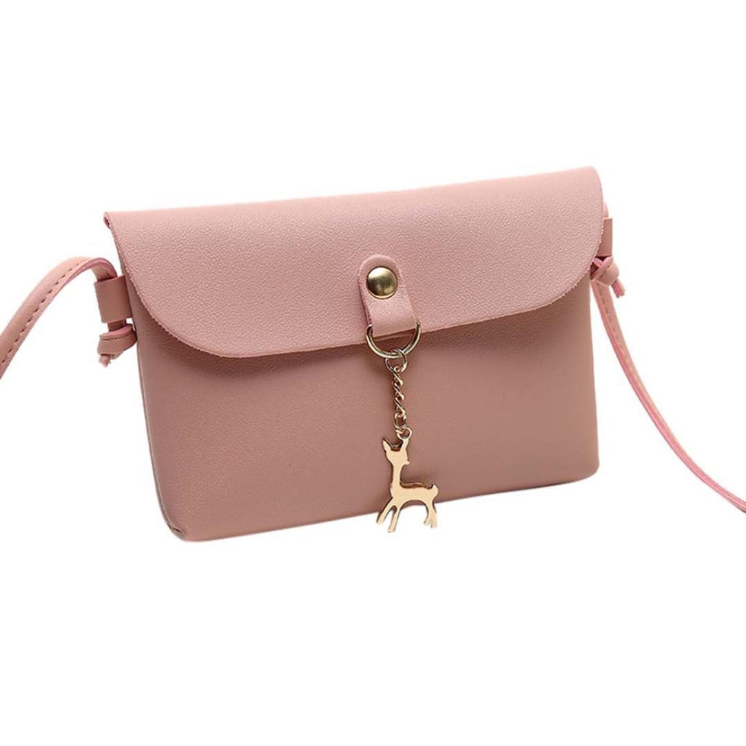 ZYooh Clearance Sale Wallet Bag Girls Vintage Small Deer Pendant Leather Crossbody Shoulder Bag (Pink)
