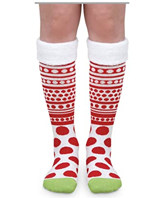 37f3457cbd9 Jefferies Socks Girls Red White Dot Stripe Fuzzy Cuff Wacky Wednesday Book  Costume Knee High Socks