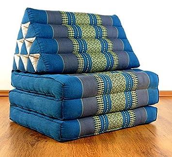 asiatisches Sitzkissen Braun/Grün Thaikissen 1 Auflage Thaimatte livasia Thaikissen der Marke Asia Wohnstudio Kapok Dreieckskissen Liegematte