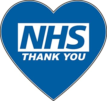 Blue Heart Thank You NHS Vinyl Sticker Window Car Wall 100mm 10/% Donated to NHS