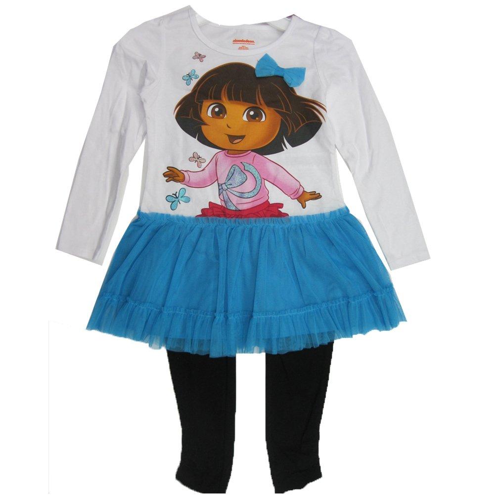 Disney Little Girls Blue Black Dora the Explorer Skirted 2 Pc Leggings Set 4-6X ABC Brand Name Inc.