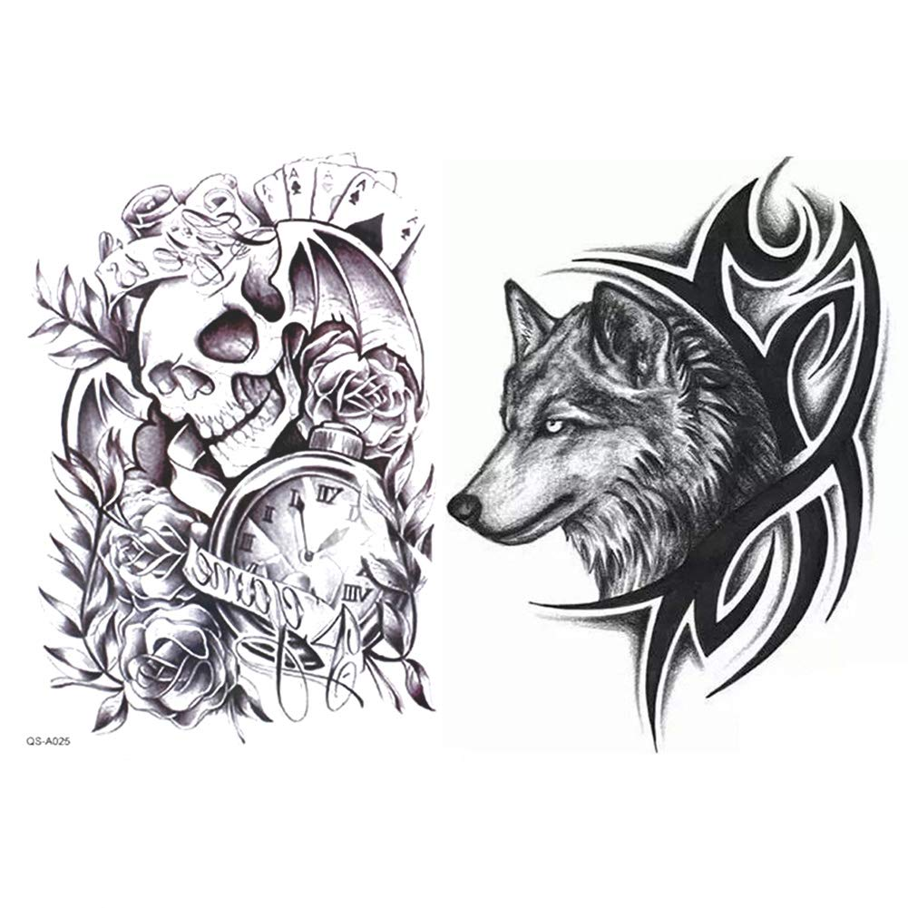 6 Sheets Large Temporary Tattoos, Dead Skull, Wolf Head Waterproof Body Arm Shoulder Back Art Tattoo Stickers, Removable, Environment-friendly and No Skin Irritation ICYANG