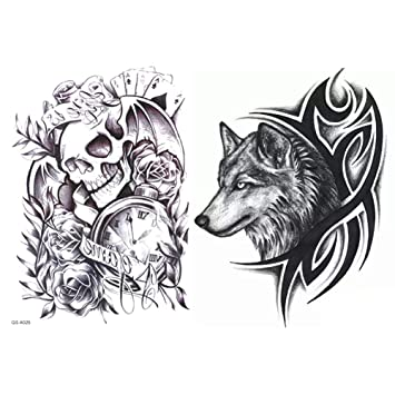 6b43e6858 Amazon.com : 6 Sheets Large Temporary Tattoos, Dead Skull, Wolf Head  Waterproof Body Arm Shoulder Back Art Tattoo Stickers, Removable,  Environment-friendly ...