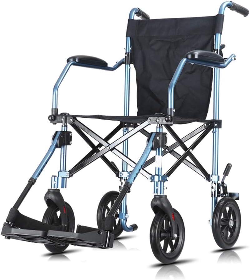 Teng Peng Silla de ruedas de transporte de conducción ligera for adultos, aleación de aluminio plegable Viaje médico a domicilio for ancianos Capacidad de carga 110 kg sillas de ruedas plegables liger