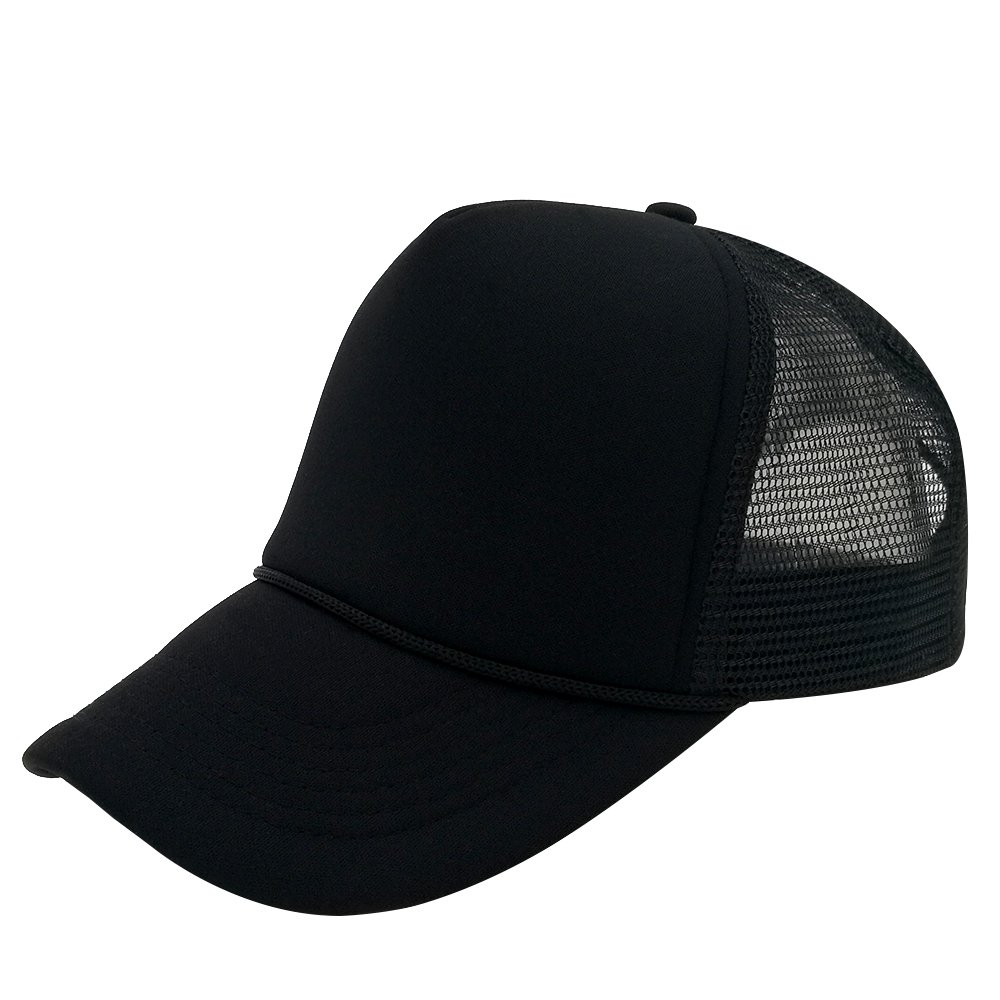 c5b6723361 Unisex Plain Baseball Cap Trucker Mesh Hat Adjustable Snap Back with Rope  Front (Black) at Amazon Men s Clothing store