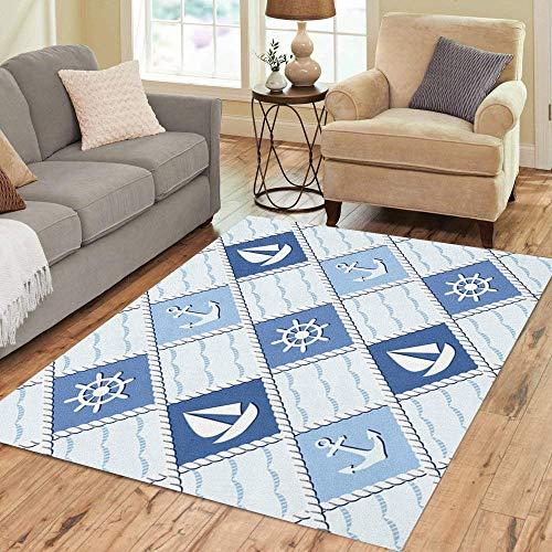 Pinbeam Area Rug Coastal Marine Blue Sea Nautical Anchor Pattern Bird Home Decor Floor Rug 3' x 5' - Pattern Flags Nautical