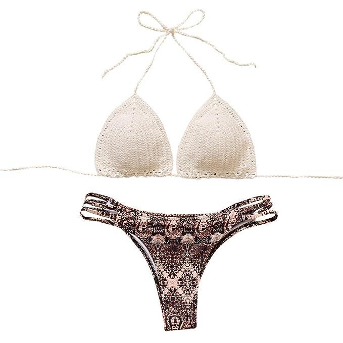DEELIN 2018 Summer Womens Color Sexy Bikini Bohemian Swimwear Traje de baño de Punto Conjunto (