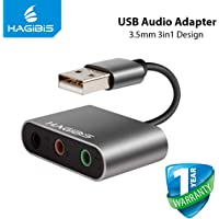 AROPANA Hagibis External Sound Card Converter Splitter USB Adapter 3 Port Converter Headphone Microphone for PC Laptop Audio Adapter
