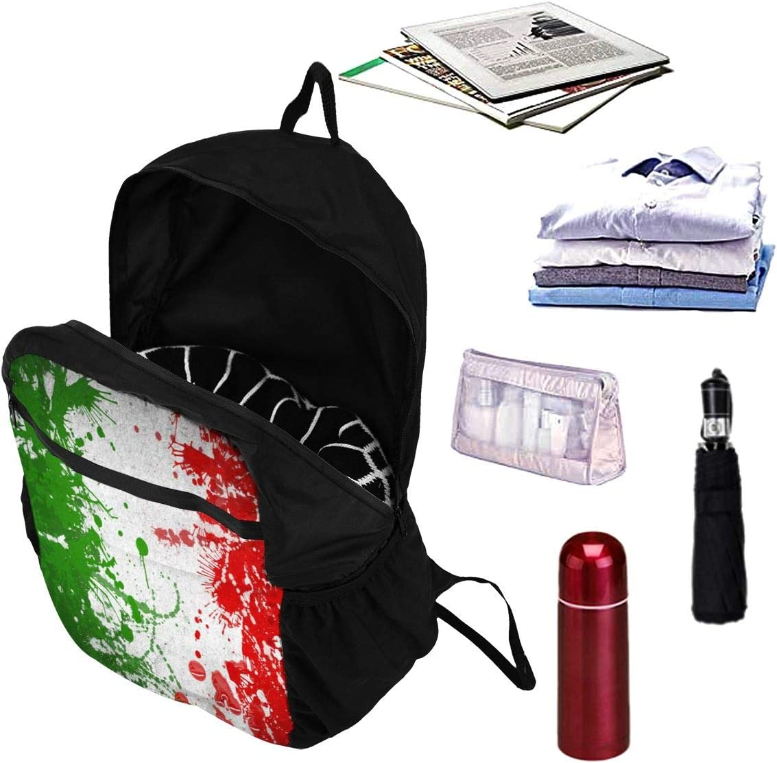 Foldable Italian Flag Backpack for Travel Camping Outdoor Water Resistant Lightweight