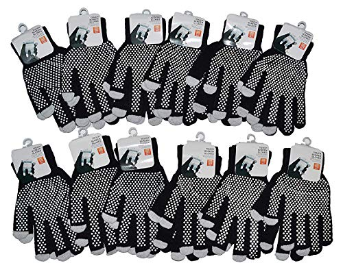 OPT Brand. 12 Pairs Wholesale Magic Knit Gripper NON-SLIP GRABBER PALMS Gloves Sports Work. USA Trademark Registered Code: - Gloves Magic Gripper