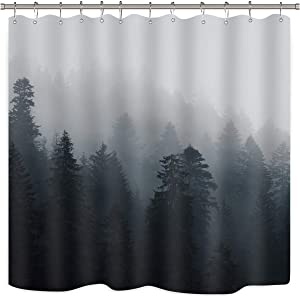 Riyidecor Forest Nature Shower Curtain Set Trees Fog Pine Rustic Landscape Black Gray Art Printed Fabric Waterproof Bathtub Decor 12 Pack Plastic Shower Hooks 72x72 Inch