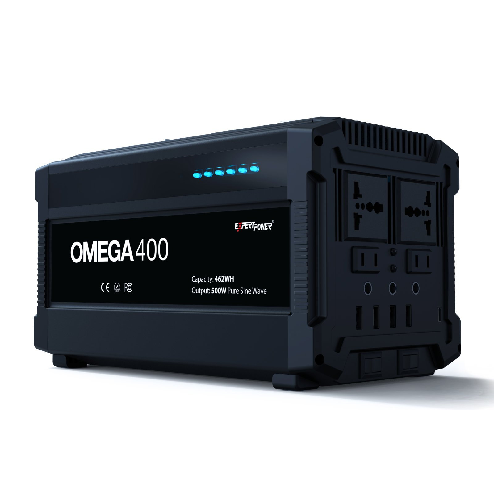 ExpertPower Omega 400 Portable Generator Lithium-ion 42AH 462WH Uninterruptible Power Supply with 500W PURE SINE WAVE for Outdoor and Indoor Use