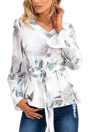 Mujer Camisas Floral Manga Cuello En V Corbata Cintura Jersey ...