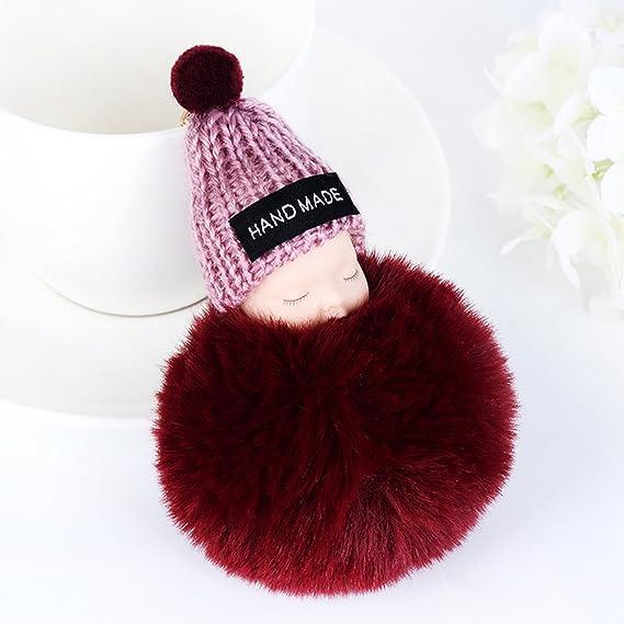 Amazon.com: Cute SLeeping Baby Doll Llavero pompón bola de ...