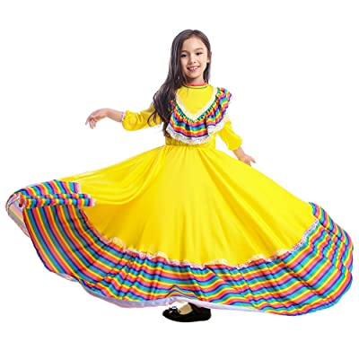 Riekinc Girls Mexi Long Dancing Dress Carnival Halloween Party Swingskirt: Clothing