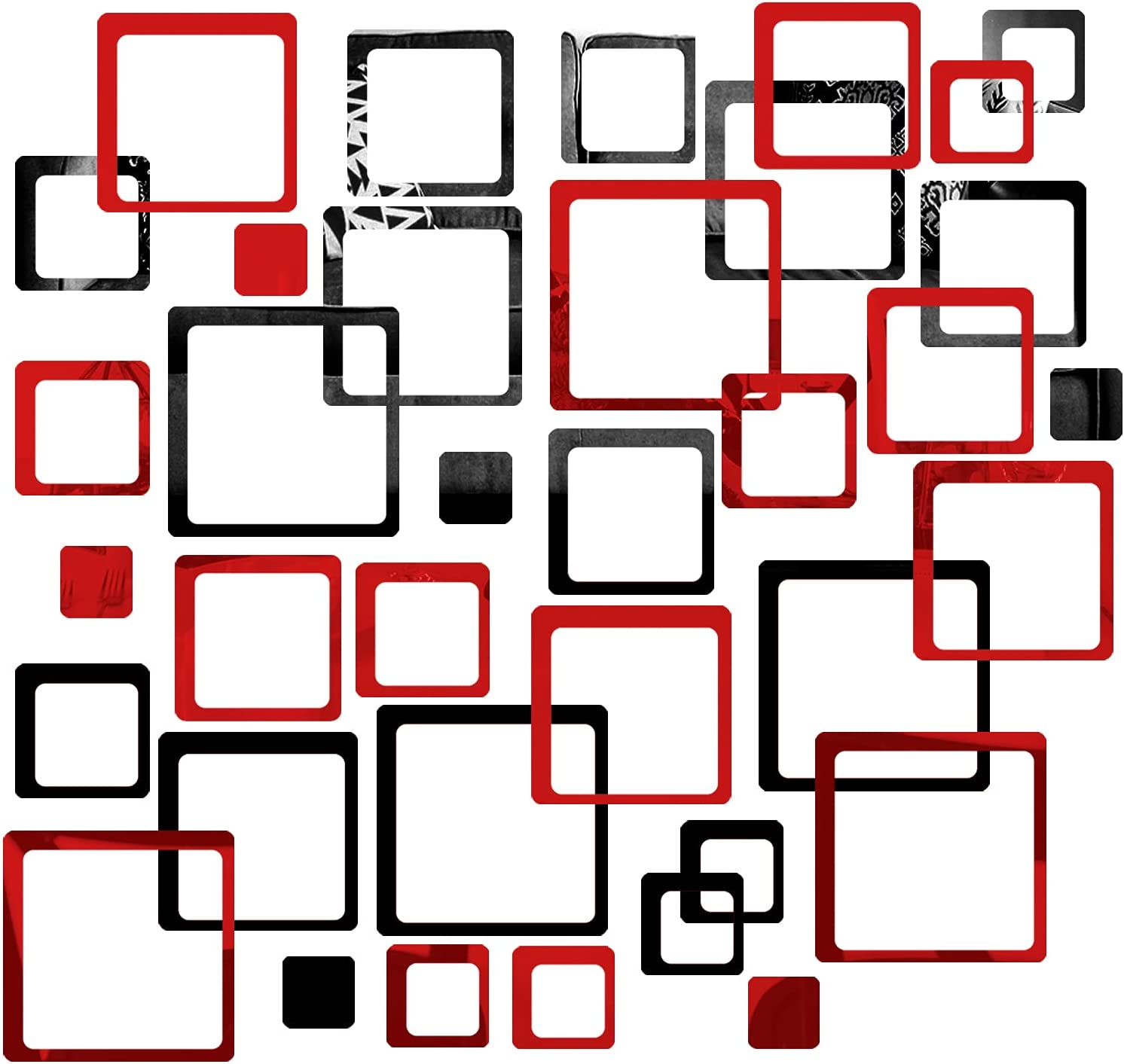 MicButty Mirror Wall Stickers, 36Pcs Acrylic Square Mirror Wall Stickers DIY Decals Modern Art Mural for Home Living Room Bedroom Decor (Black and Red, 8 x 8 Inch)