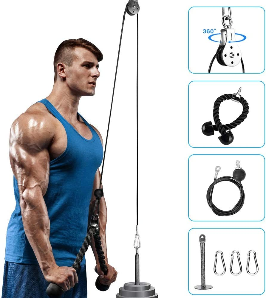Elikliv Fitness LAT and Lift Pulley System Gym Pulley Cable Machine Attachment System with Loading Pin Tricep Rope Forearm Wrist Trainer Arm Strength Training Workout for Pulldowns, Biceps Curl : Sports & Outdoors