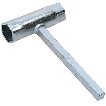 Spares2go - Llave tubular universal para cortacésped de 19 mm, 21 mm, bujía y tapón de drenaje de aceite: Amazon.es: Hogar