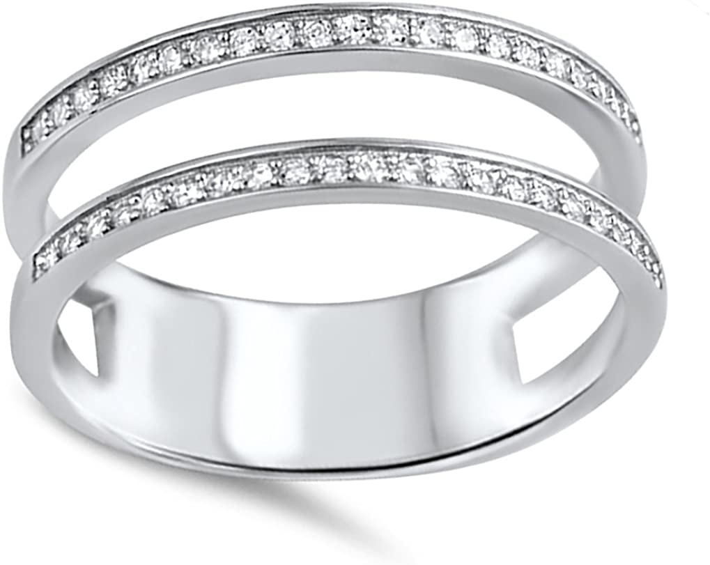 Wedding Band Enhancer Guard Double Ring Sterling Silver 6-10
