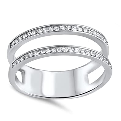 Amazon.com: Double Wedding Band Guard for Engagement Ring .925 ...